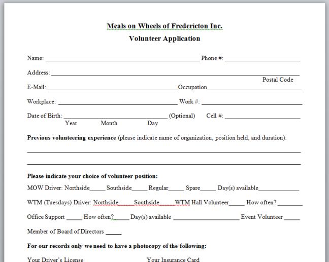 application sheet screen shot